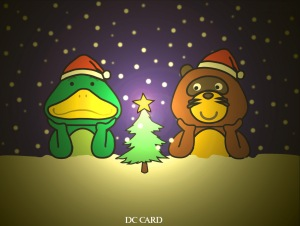 Kappa and Tanuki celebrate Christmas - DCcard