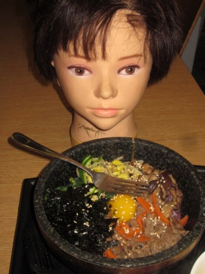 Disembodied head enjoys a hearty meal