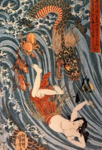 Tamatori being pursued bya dragon by Utagawa Kuniyoshi