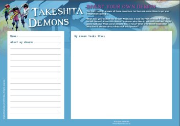 Takeshita Demons invent your own demon worksheet
